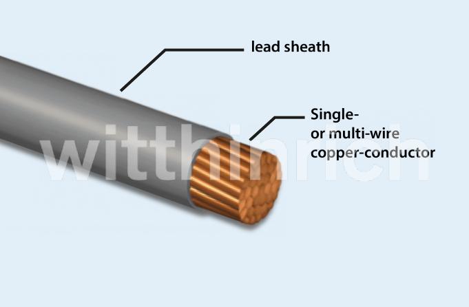 Single Or Multi Wire Copper Conductor Soft Bare Class 2 Under Lead Sheath Pb According To DIN VDE 0295 And EN 60228